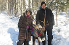 Paul with a staff member at the Fairbanks (Alaska) Children's Museum oh and a reindeer too.